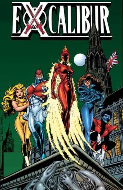 Bestselling Comics (2006) - The Sword Is Drawn (Excalibur Classic, Vol. 1) by Chris Claremont - Superheroes - British Flag - Moon - Blonde - Tower