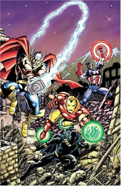 Bestselling Comics (2006) - Avengers Assemble, Vol. 2 by Kurt Busiek - Captain America - Ironman - City - Destruction - Mountain