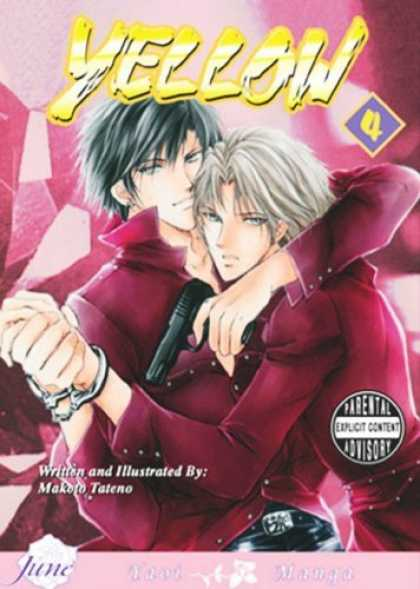 Bestselling Comics (2006) - Yellow Box Set (Yaoi) by Makoto Tateno - Yellow - White Hair - Black Hair - Hand Cuffs - Gun