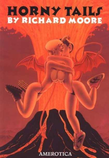 Bestselling Comics (2006) - Horny Tails by Richard Moore - Richard Moore - Erotic Comics - Two Flying Girls Kissing - Amerotica - Volcano In Background