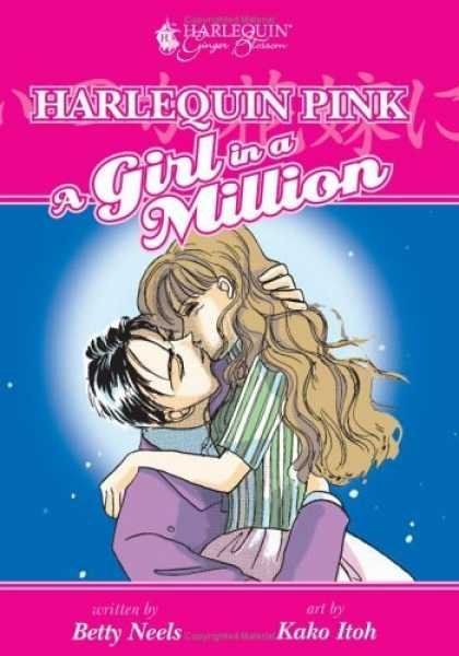 Bestselling Comics (2006) - Harlequin Pink: A Girl In A Million (Harlequin Ginger Blossom Mangas) by Betty N - A Couple Kissing - Blue Sky - Stars - Striped Shirt - Purple Suit