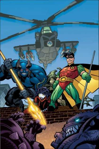 Bestselling Comics (2006) - Robin: Days of Fire and Madness (Robin) by Bill Willingham - Helicoptor - Red Green Costume - Blue Monster With Horns - Guns - Golden Oar