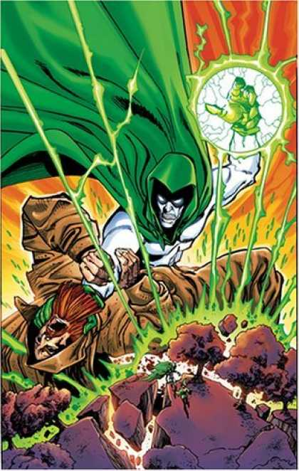 Bestselling Comics (2006) - Day of Vengeance (Infinite Crisis) (Countdown to Infinite Crisis) by Judd Winick - Green Caped Man - Brown Robed Man - Green Fist - Green Power Ball - Shattering Ground