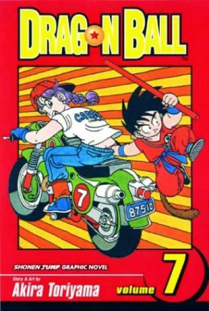Bestselling Comics (2006) - Dragon Ball, Vol. 7 - Motorcycle - Purple Hair - Akira Toriyama - License Plate - Weapon