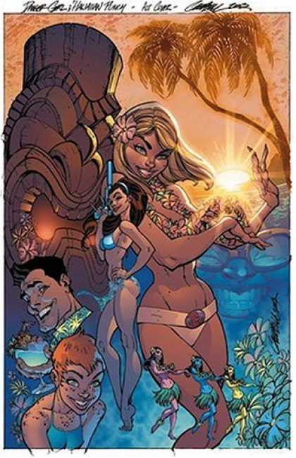 Bestselling Comics (2006) - Danger Girl: Odd Jobs (Danger Girl) by Andy Hartnell - Hula Dancers - Palm Trees - Statue - Gun - Leighs