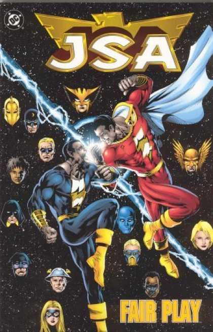 Bestselling Comics (2006) - JSA: Fair Play (Book 4) by Geoff Johns - Jsa - Blue Outfit - Red Outfit - Lightning - Heroes