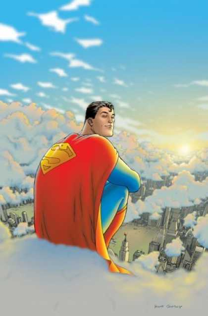 Bestselling Comics (2006) - All Star Superman: Volume 1 (All Star) by Grant Morrison - Superman - Clouds - Metropolis - Blue Skies - Sun Rise