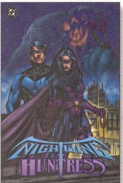 Bestselling Comics (2006) - Nightwing & Huntress by Devin Grayson - Night - Sky - Couple - Kiss - Buildings