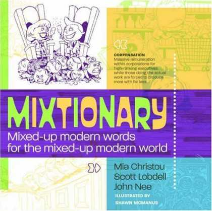 Bestselling Comics (2006) - Mixtionary by Mia Christou - Mixtionary - Boy And Girl Beaming - Children Squashed Into A Pile - Compensation - Mixed Up Modern Words