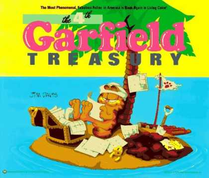 Bestselling Comics (2006) - Fourth Garfield Treasury by Jim Davis - Garfield Treasury - Cat - Treasure Chest - Desert Island - Palm Tree