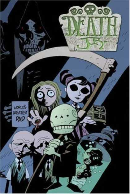 Bestselling Comics (2006) - Death, Jr. by Gary Whitta - Death Jr - Worlds Greatest Dad - Lady With Darkened Eyes - Lady With Blacked Out Eyes - Baby In Diapers