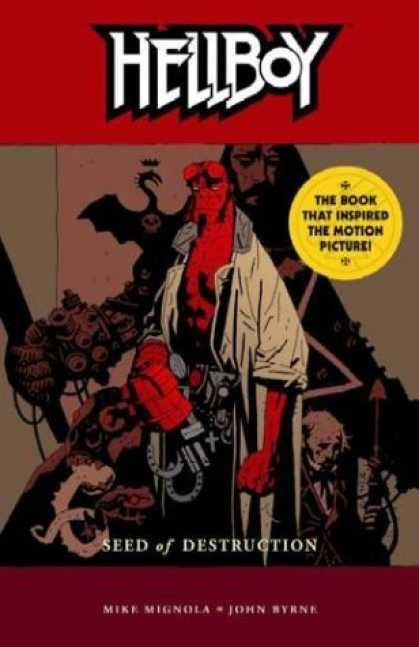 Bestselling Comics (2006) - Hellboy Volume 1: Seed of Destruction - NEW EDITION! (Hellboy (Graphic Novels)) - Red Monster - Dragon - Cross Pendant - Weapons - Beige Jacket