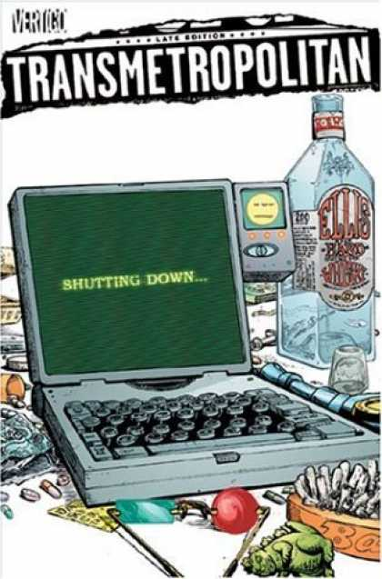 Bestselling Comics (2006) - Transmetropolitan Vol. 10: One More Time by Warren Ellis - Shutting Down - Ellis Whiskey Bottle - Lap Top - Ash Tray - Dragon Mini