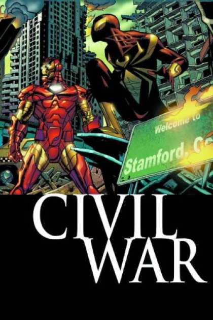 Bestselling Comics (2007) - Civil War: Amazing Spider-Man by J. Michael Straczynski - Tallest Buildings - Welcome To Stamford - Car - Aparments - Getting Ready For War