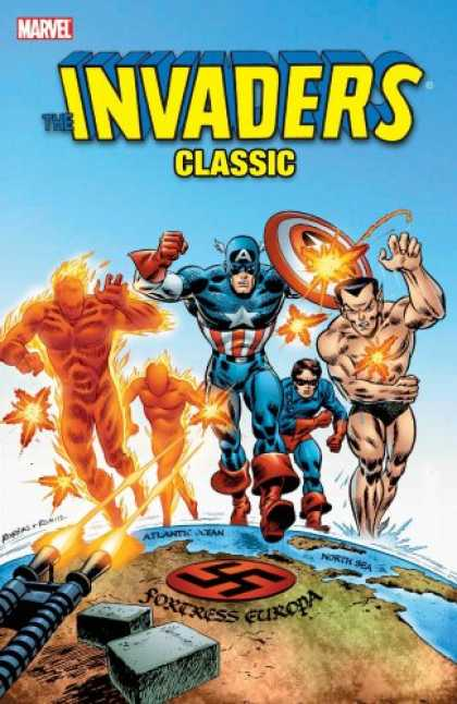 Bestselling Comics (2007) - Invaders Classic, Vol. 1 (Marvel Comics, Avengers) by Roy Thomas - The Invaders Classic - Mr America - Swastika - Earth - Gunfire