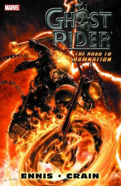 Bestselling Comics (2007) - Ghost Rider: The Road To Damnation (Marvel Graphic Novel) by Garth Ennis - Skeleton - Jacket - Flames - Chain - Ghost Rider