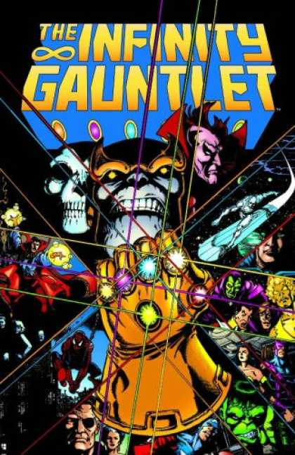 Bestselling Comics (2007) - Infinity Gauntlet (Marvel Comics) by Jim Starlin - Infinity Gauntlet - Skulls - Jewels - Fist - Glove