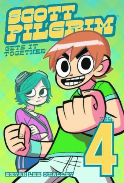 Bestselling Comics (2007) - Scott Pilgrim, Vol 4: Scott Pilgrim Gets It Together by Bryan Lee O'Malley - Girl - Boy - Fist - Goggles - Four