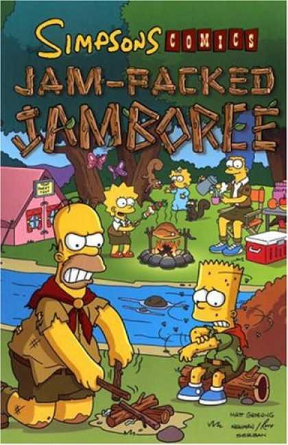 Bestselling Comics (2007) - Simpsons Comics Jam-Packed Jamboree by Matt Groening - Fly-bound - Fire It Up - Bad Matches - Camp Simpson - Girls Beat Boys