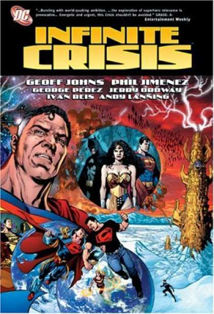 Bestselling Comics (2007) - Infinite Crisis (DC Comics) by Geoff Johns - Snow - Wonder Woman - Batman - Superman - Red Skies