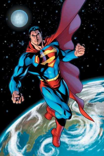 Bestselling Comics (2007) - Superman, Vol. 1: Up, Up, and Away! by Kurt Busiek - Outer Space - Superman - Moon - Earth - Flying