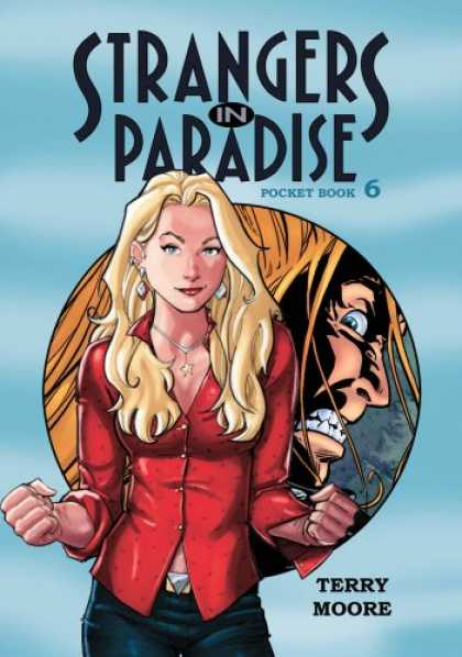 Bestselling Comics (2007) - Strangers In Paradise Pocket Book 6 (Strangers in Paradise (Graphic Novels)) by - Terry Moore - Blonde Woman - Tight Red Top - Star Necklace - Diamon Earings