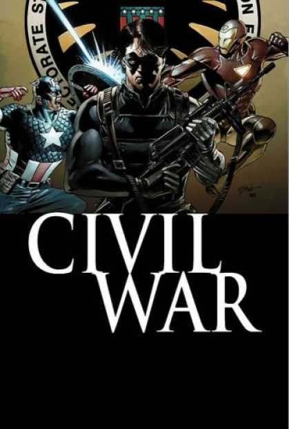 Bestselling Comics (2007) - Civil War: Captain America by Ed Brubaker - Civil War - Guns - Captain America - Muscles - Black Suit