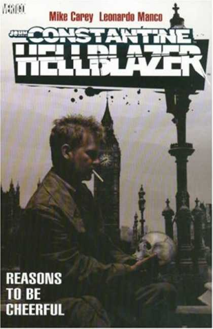 Bestselling Comics (2007) - Hellblazer: Reasons to Be Cheerful (Hellblazer (Graphic Novels)) by Mike Carey - Man - Cigarette - Lamp Post - Cemetary - Skull