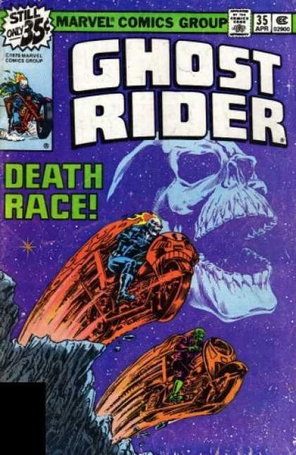 Bestselling Comics (2007) - Essential Ghost Rider, Vol. 2 (Marvel Essentials) by Gerry Conway - Death Race - Two Bikes - Skeleton - Riding A Bike - Stars