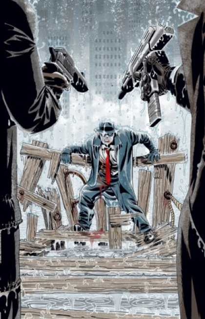Bestselling Comics (2007) - The Spirit by Darwyn Cooke - Automatic Gun - Man Facing Two Indifiduals - City In Back Ground - Colapsing Bridge - Raining
