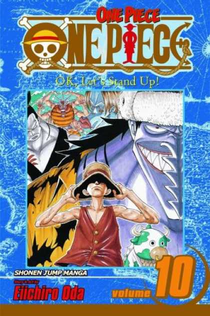 Bestselling Comics (2007) - One Piece, Volume 10: OK, Let's Stand Up! by Eiichiro Oda - One Piece - Volume 10 - Ok Lets Stand Up - Floppy Hat - Green And White Animal