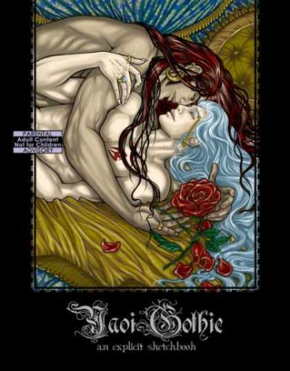 Bestselling Comics (2007) - Yaoi Gothic: An Explicit Sketchbook by Laura Carboni - Women Love - Women Hug - Naked Women - Blue And Red Hair - Roses