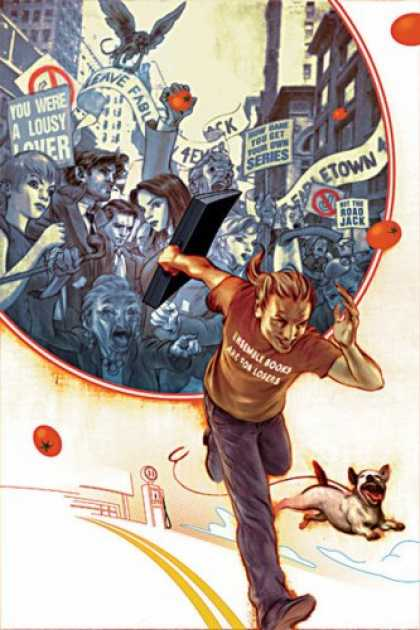 Bestselling Comics (2007) - Jack of Fables Vol. 1: The (Nearly) Great Escape by Bill Willingham - Runner - Dog - Crowd - Picket Signs - Protest
