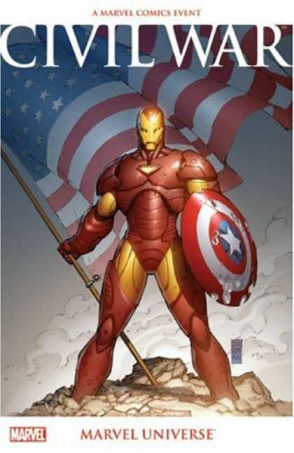 Bestselling Comics (2007) - Civil War: Marvel Universe by Ed Brubaker - Civil War - American Flag - Star Shield - Triumph - Robot