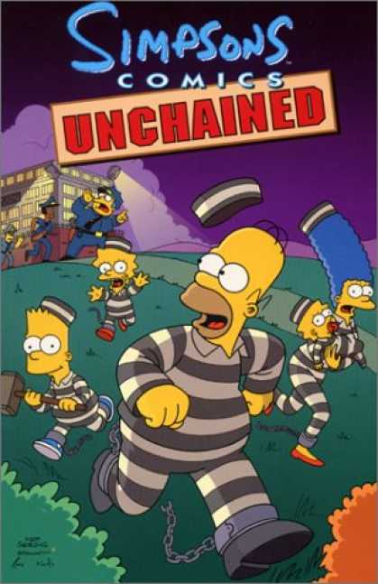 Bestselling Comics (2007) - Simpsons Comics Unchained by Matt Groening - Unchained - Homer Simpson - Jail - Bart Simpson - Lisa Simpson
