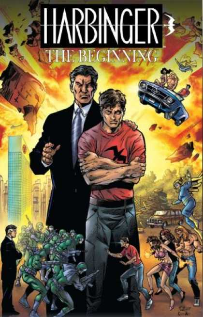 Bestselling Comics (2007) - Harbinger: The Beginning by Jim Shooter - The Beginning - Blue Car - Suit - Red Shirt - Green Men