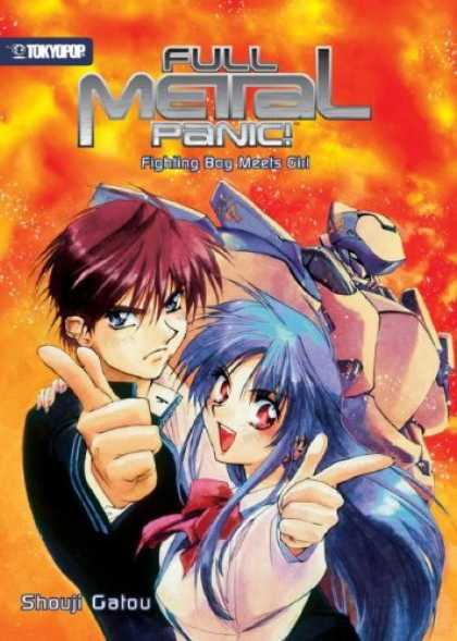 Bestselling Comics (2007) - Full Metal Panic! (novel) Volume 1: Fighting Boy Meets Girl (Full Metal Panic) b - Fighting Bog Meets Girl - Shouji Gatou - One Boy And Girl - Showing Fingers - Sky Is Red