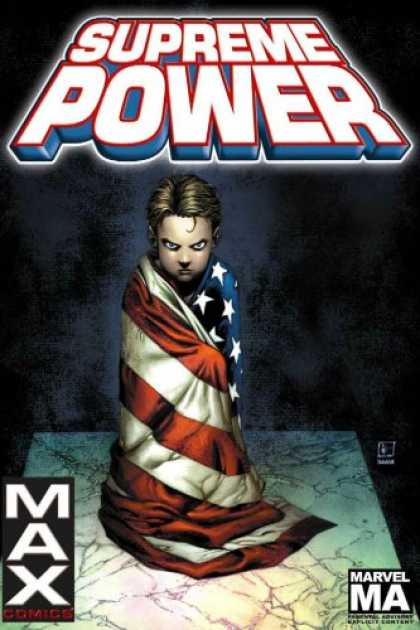 Bestselling Comics (2007) - Supreme Power Vol. 1: Contact by J. Michael Straczynski - Supreme Power - Max - American Flag - Boy - Marble Floor