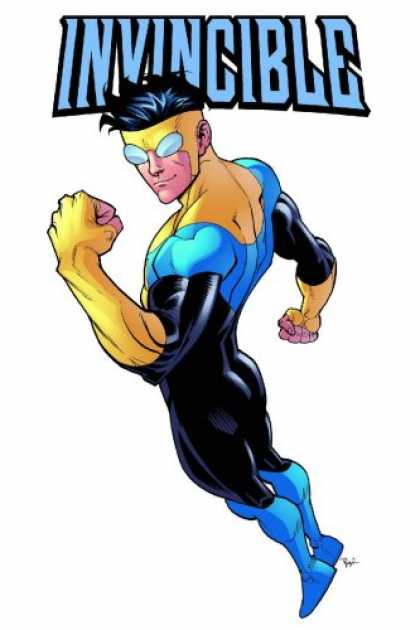 Bestselling Comics (2007) - Invincible Volume 9: Out Of This World (Invincible) by Robert Kirkman - Super Guy - Black Blue And Yellow Suit - White Bug Eyes - Poised For Action - Look At The Muscles