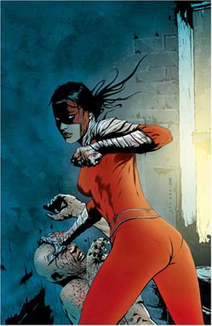 Bestselling Comics (2007) - Manhunter: Street Justice (Book 1) by Marc Andreyko - Red Mask - Woman In Red - Emphasized Waist - Zombie Crushing - Eye Contact