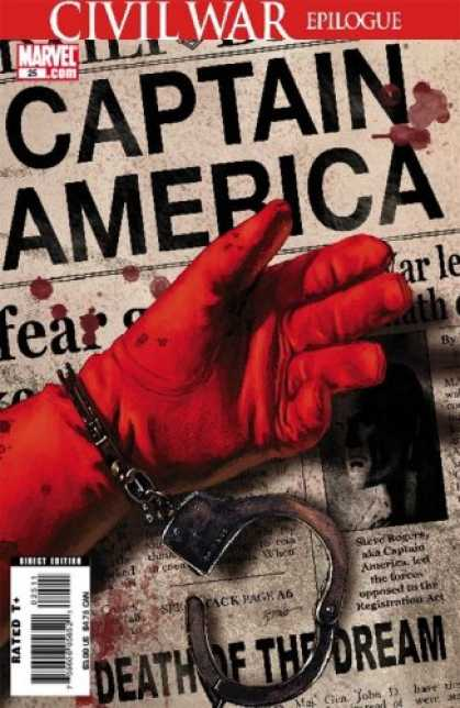 Bestselling Comics (2007) - Captain America #25: The Death of Captain America (Captain America) by Ed Brubak - Death - Dream - Gloved Hand - Newspaper - Handcuffs
