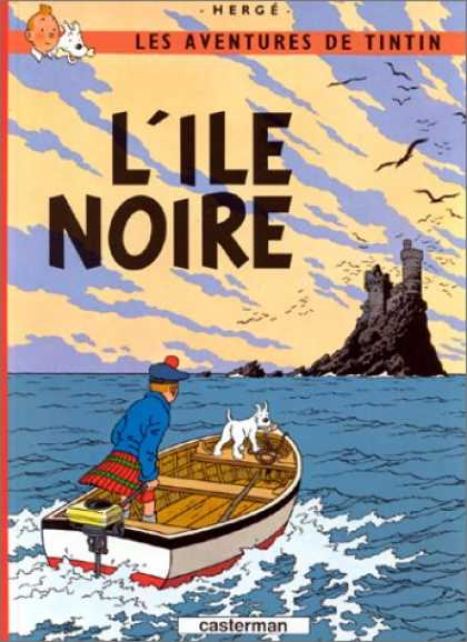 Bestselling Comics (2007) - Les Aventures de Tintin: L'Ile Noire (French Edition of The Black Island) by Her - Boat - Kilt - Castle - Ocean - Dog