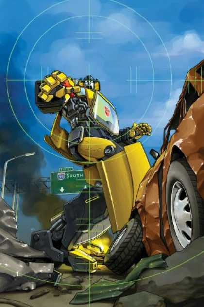 Bestselling Comics (2007) - The Transformers: Escalation TPB by Simon Furman - Scope - Yellow Robot - Street Sign - Tyres - Sky