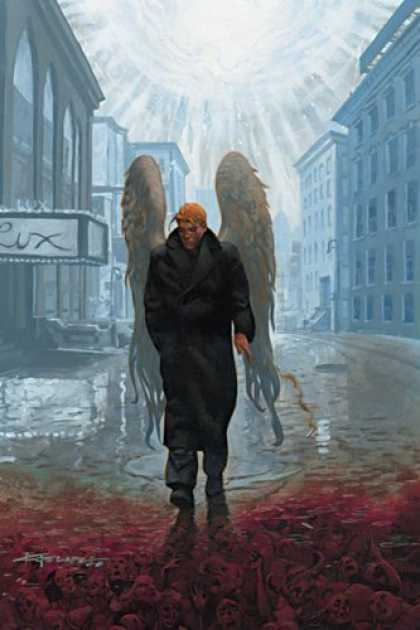 Bestselling Comics (2007) - Lucifer, Book 11: Evensong by Mike Carey - Building - Rain - Blood - Coat - Man