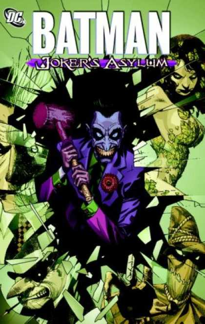 Bestselling Comics (2008) - Batman: Joker's Asylum by Joe Harris - Jokers Asylum - Joker Holds A Hammer - Blue And Green Suit - Poisen Ivy - Penguin