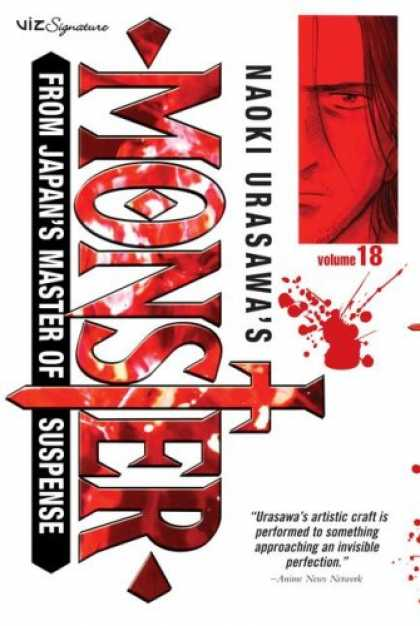 Bestselling Comics (2008) - Naoki Urasawa's Monster, Volume 18 - Anime - Sword - Blood Stain - Review On Bottom Right Corner - Viz Signature