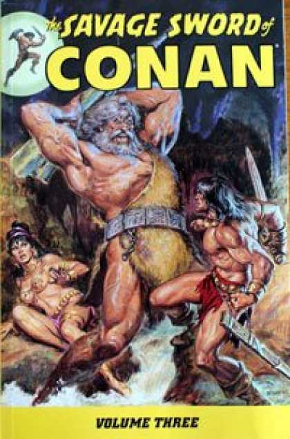 Bestselling Comics (2008) - Savage Sword of Conan Volume 3 (Conan (Graphic Novels)) (v. 3) by Roy Thomas - Giant - Fighting - Sword - Volume Three - Girl