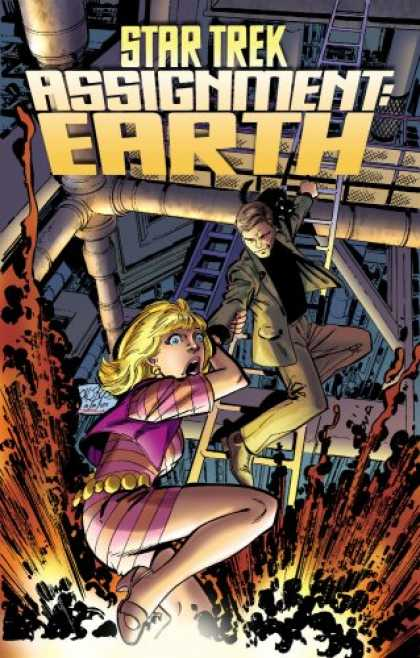 Bestselling Comics (2008) - Star Trek: Assignment Earth by John Byrne - Assignment Earth - Woman - Pink Dress - Ladder - Man