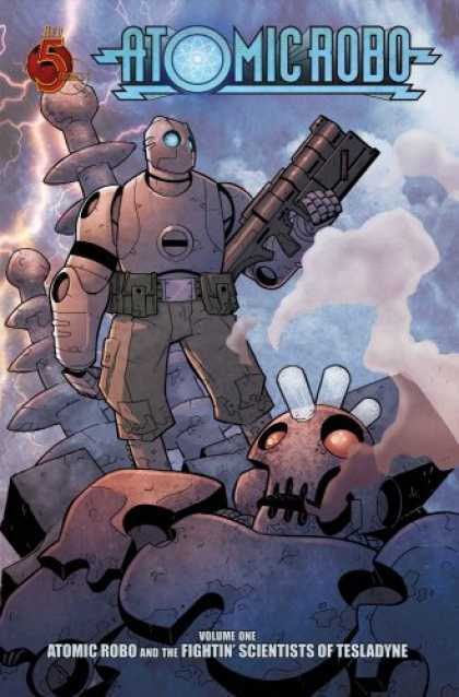 Bestselling Comics (2008) - Atomic Robo TPB Volume 1: Atomic Robo & the Fightin' Scientists of Tesladyne (v. - Atomic Robo - Robot - Weapon - Clouds - Gun