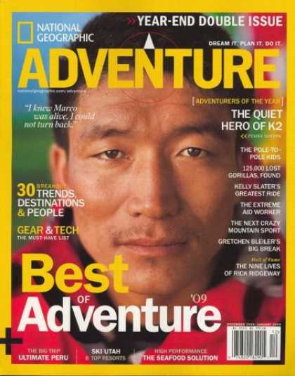 Bestselling Magazines (2008) - National Geographic, Adventure, December/January 2009 Issue